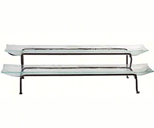 Couronne Company M365-2057 Two-Tier Recycled Glass Platter & Metal Stand, 17'', Clear, 1 Piece by Couronne Company