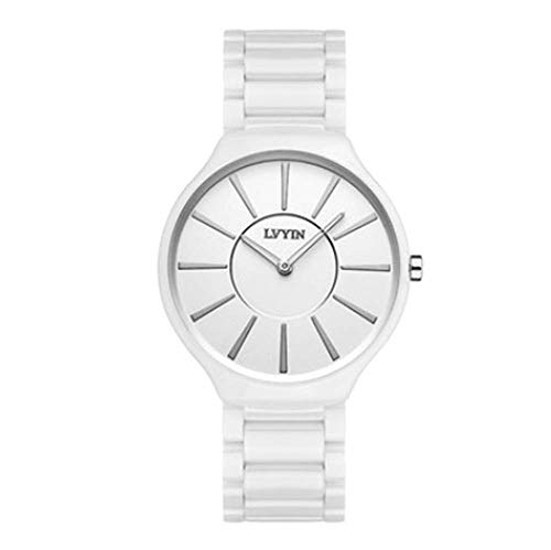 Women Watch Ceramic Fashion Personality Elegant and Simple Waterproof Adjustable Strap Girl Quartz Watch,Awhite