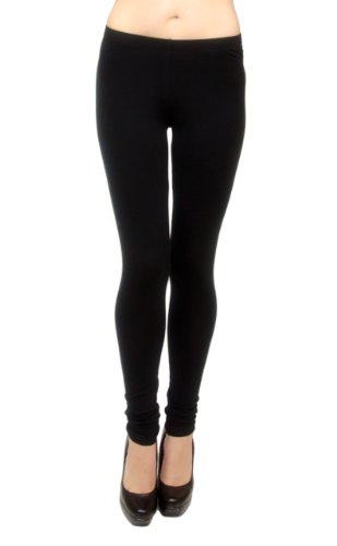Vivian's Fashions Long Leggings - Cotton, Junior Size (Black, 3X)