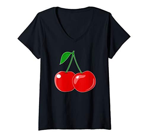 Womens Cherries Gift for Men Women That Love Cherry Drink V-Neck T-Shirt