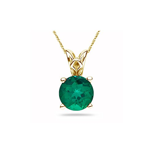 - 2.93-3.10 Cts of 10 mm AAA Round Lab Created Emerald Scroll Solitaire Pendant in 14K Yellow Gold