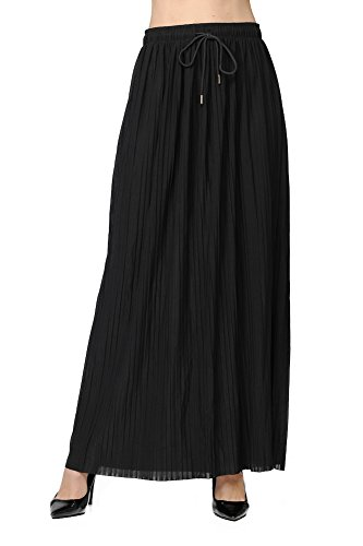 GAAM Women's High Waist Pleated Wide Leg Maxi Skirt with Drawstring Black