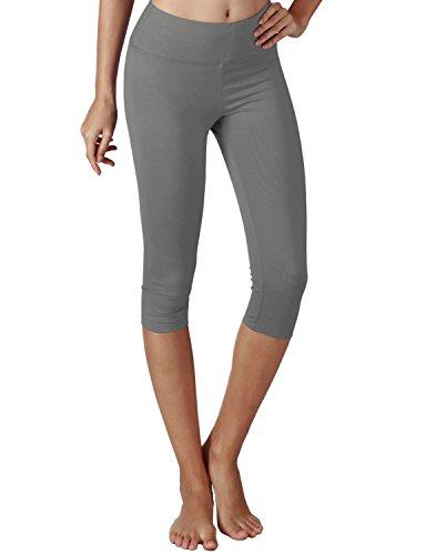 Yogareflex Women's Tummy Control Active Tights Yoga Running Leggings Capris , Gray , Small