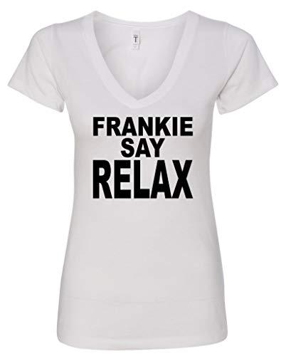 Manateez Women's Frankie Say Relax V-Neck White Tee Shirt - S to XXL