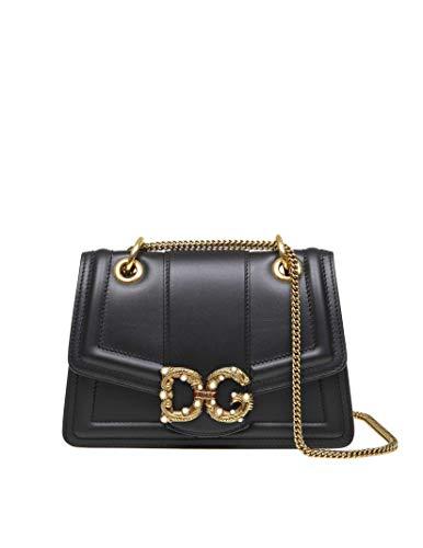 - Dolce E Gabbana Women's Bb6676ak29580999 Black Leather Shoulder Bag