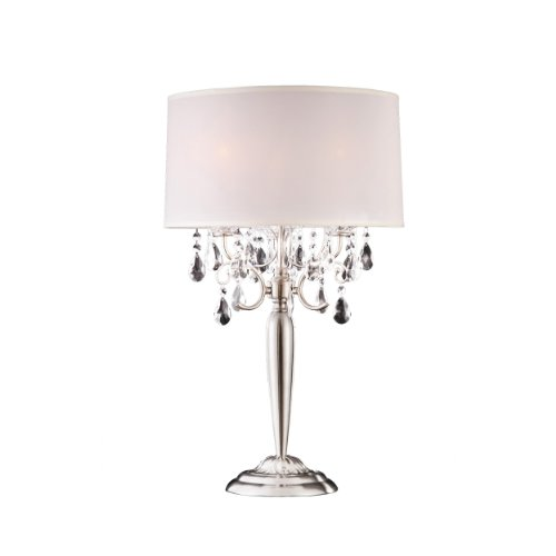 Ok Lighting OK-5109T Crystal Silver Table Lamp, 16
