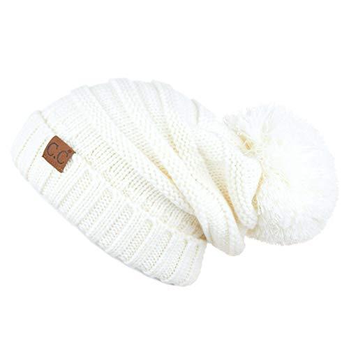 Hatsandscarf C.C Exclusives Unisex Oversized Slouchy Beanie with Pom (HAT-100POM) (Amazon Ivory)