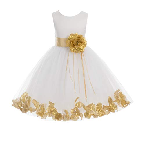 ekidsbridal Rose Petals White Flower Girl Dresses Pageant Dress Baptism Dress 007ss 10