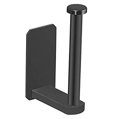 CCSTORAGE Toilet Paper Holder Self Adhesive Kitchen Washroom Adhesive Toilet Roll Holder No Drilling for Bathroom Stick on Wall Stainless Steel Brushed - Black