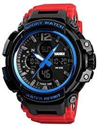 SKMEI Digital Watch Men's Sports Military Multifunctional Waterproof Wrist Watch LED Back Light Stopwatch Big Face Red Band