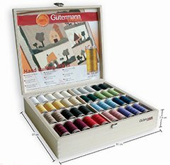 Gutermann Wooden Case Filled With Quilting Thread by Gutermann