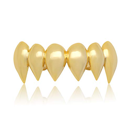 - LuReen 14k Gold Silver Shiny Vampire Fangs Top Grillz 6 Teeth Top Caps Grills (Gold Grillz)