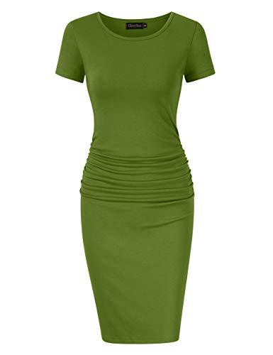 (GloryStar Women's Long Sleeve Ruched Bodycon Midi Sheath Pencil Dress (XL, Short Sleeve Green))