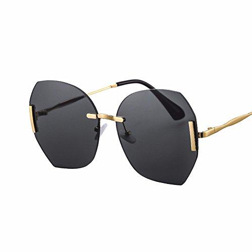 sol Negro gafas Elegante Caja la de XIAOGEGE retro rosa versión de color claro de grande marea mujer gafas coreana OXdqw