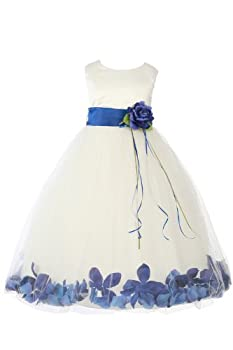 JM DREAMLINE Ivory/Royal Blue Infant Sleeveless Satin Flower Petal Dress with Sash-M(12M)