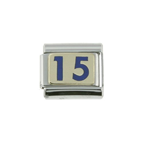 - Sabrina Silver Stainless Steel 18k Gold Number 15 Charm for Italian Charm Bracelets Blue Enamel