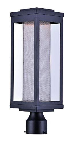 Maxim 55900MSCBK Salon LED 1-Light Outdoor Post, Black Finish, Glass, PCB LED Bulb , 60W Max., Dry Safety Rating, Standard Dimmable, Shade Material, 3360 Rated Lumens
