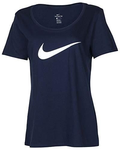 Logo Womens Cut T-shirt - Nike Women's Swoosh Logo Scoop Neck T-Shirt-Navy-Large