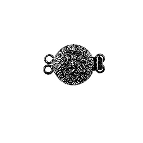 Black Rhodium Overlay Multi Strand Clasp with 2 Hole CR-382