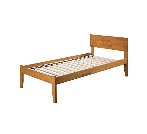 Wood & Style Orlando Platform Bed with Open Foot Board, Twin, Caramel Comfy Living Home Décor Furniture Heavy Duty (Furniture Orlando Designer)