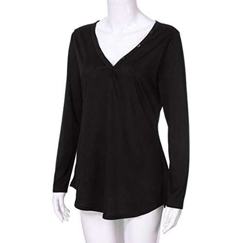 Col Fluide V Blouse Chemiser Noir Top Sexy Bringbring Femme Chemise Chic Longue Manches wFxAaqR