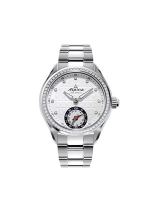 Alpina Horological Smartwatch Silver Guilloche Dial Diamond Bezel Ladies Watch AL-285STD3CD6B