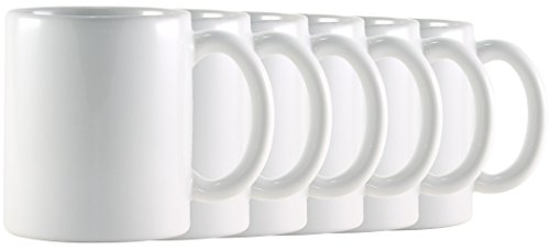 White Classic Mug (Hikari 12oz White Coffee Tea Mugs. Classic Style Heavy Duty Mugs Made in USA w/ Large Handles, Set of 6)