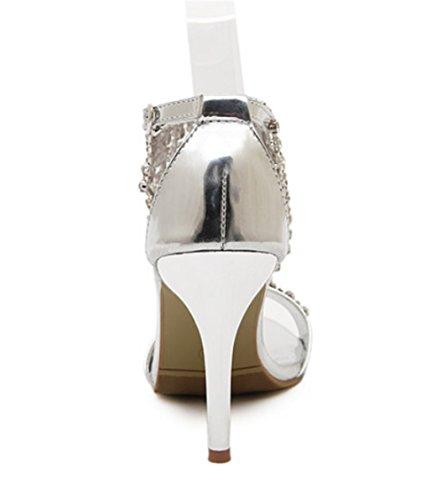 Mariage Cheville Argent Femme Argent Fête Talon Ouvert Bal 9 Bout Soirée Sandale Talon wealsex Chaussure Faux Bride Or Strass A Aiguille CM Diamant Bijou qBUwg7x