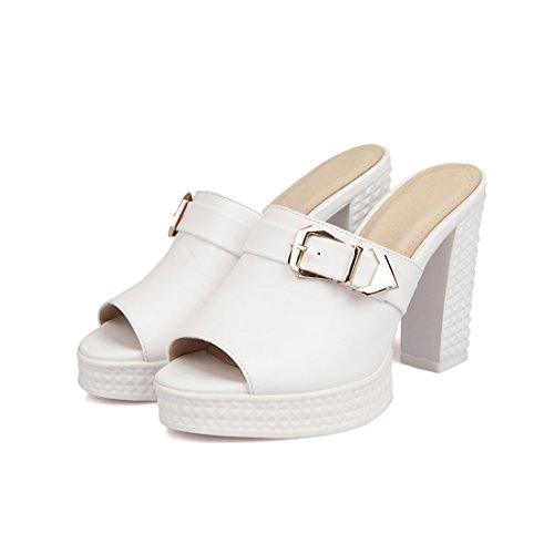 YE Damen Peep Toe Pantoletten Blockabsatz Slingback High Heels Plateau Schuhe Weiß
