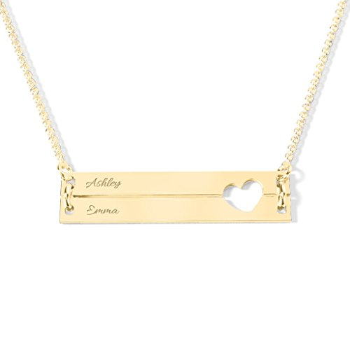 10K Yellow Gold Engravable Double Bar Heart Necklace with a 16'' Chain by JEWLR by TSD