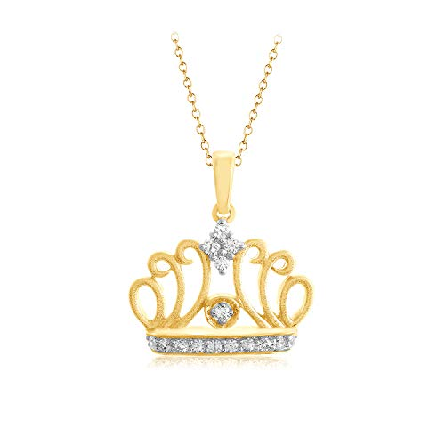 1/10 Ct Pave Natural Diamond Queen Tiara Crown Pendant 16