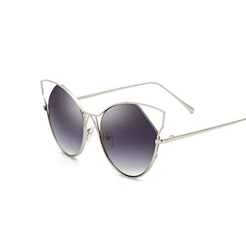 Tocoss (TM) Nouvel Or rose œil de chat Lunettes de soleil femmes Marque Designer Twin-beams Miroir Lunettes de soleil femelle Mode CatEye Lunettes de soleil, Silver Silver