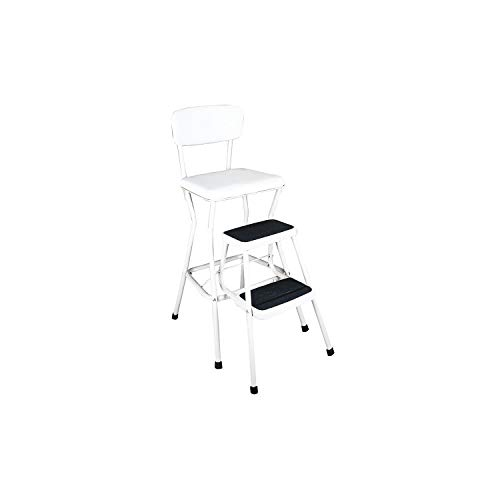 COSCO 11118WHTE White Retro Counter Chair/Step Stool with Pull-out Steps, Counter height chair provides extra seating when needed or use the 200 lb. capacity step stool to help reach those high areas