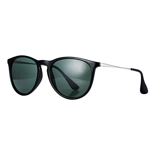 YANQIUYU 4171 Women's Erika cat eye round Polarized Sunglasses,UV400 (G15/Bright Black, (Round Green Cats Eye)