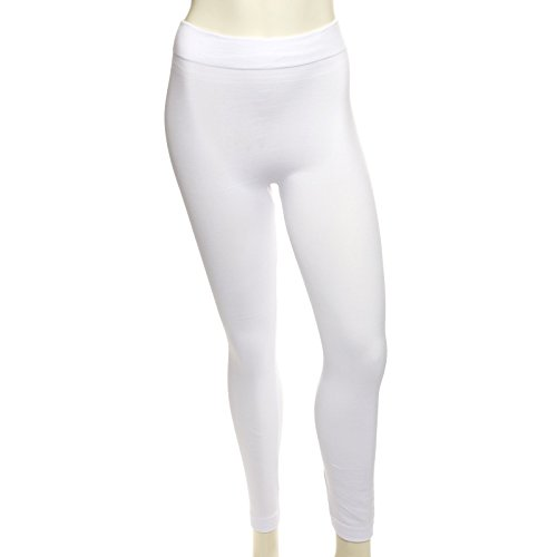 Riverberry Premium Heavy Weight Fleece Lined Legging, White, One -