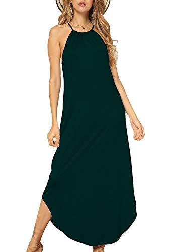 Length Neck High - Womens Summer Casual Off Shoulder Flowy Floor Length Maxi Long Dress Green S