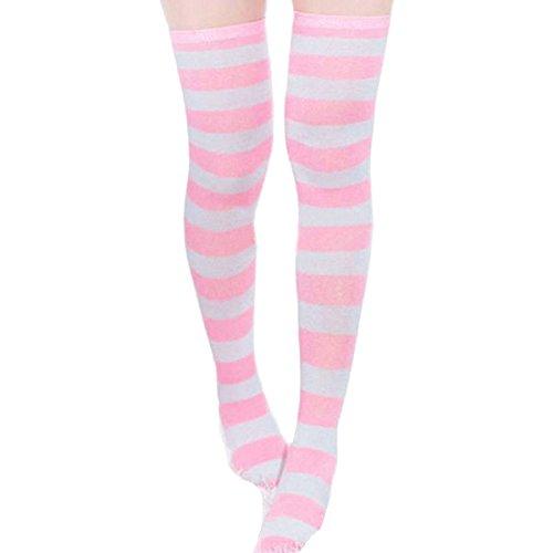 Wowlife Girls Colorful Stocking Over Knee Thigh Long Sock Pantyhose Leg Stocking (White + -
