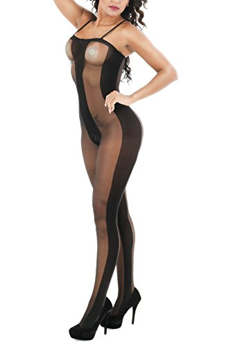 Open Bodystocking (Yuanlar Womens Sexy Lingerie Open Crotch Straps Sheer Bodystocking Bodysuit Tights)