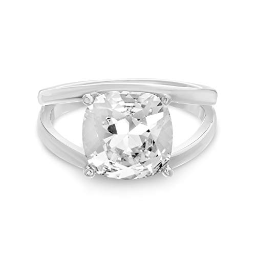 (Devin Rose Split Shank Ring for Women in 925 Sterling Silver Made With Swarovski Crystal ())