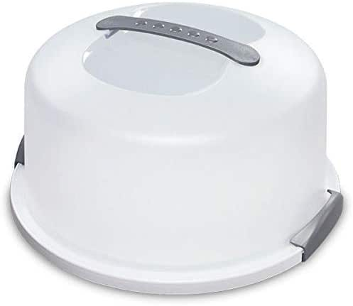 12 Inch Cake Carrier/Storage Container & White Dome Cover Transports Cakes, Pies, Tarts or Other Desserts