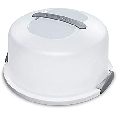 Cake and Cupcake Carrier/Storage Container With Server Holds up to 12 inch 3-layer cake, White Gray Translucent Dome - Perfect for Transporting Cakes, Cupcakes, Pies, or Other Desserts (1)
