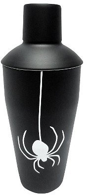 Halloween Cocktail Shaker Black with White Spider