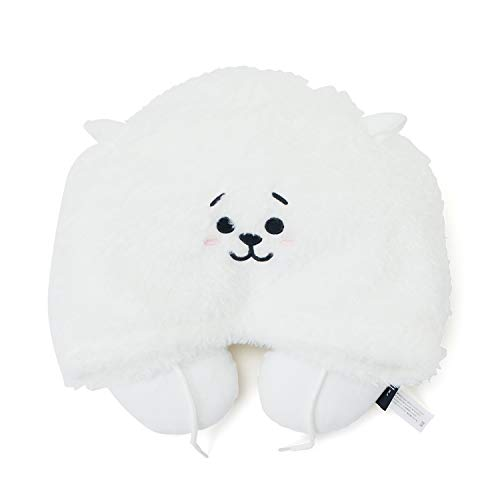 BT21 Official BTS Merchandise by Line Friends - RJ Character Hooded Travel Neck Pillow, White -