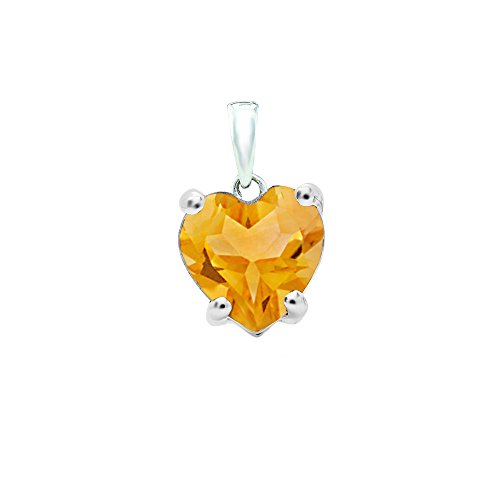 14K White Gold 6 MM Heart Cut Citrine Ladies Heart Shaped Pendant (Heart Pendant Cut Citrine)