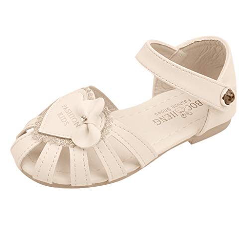 (Leisuraly Little Girls Princess Shoes,Children Kids Baby Girls Sequin Heart Bling Single Princess Roman Shoes Sandals Beige )