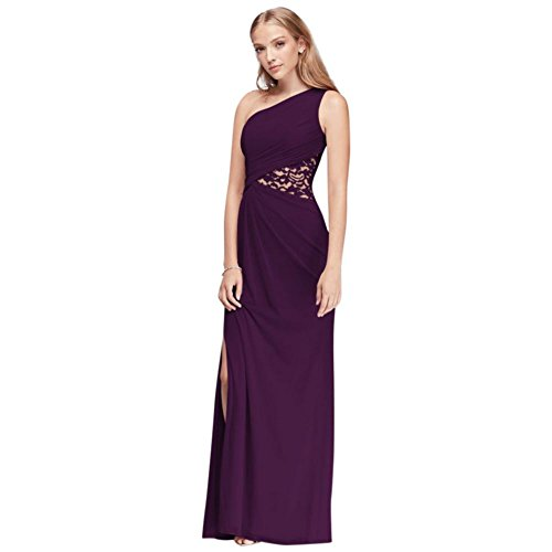 One-Shoulder Mesh Bridesmaid Dress with Lace Inset Style F19419, Plum, 18