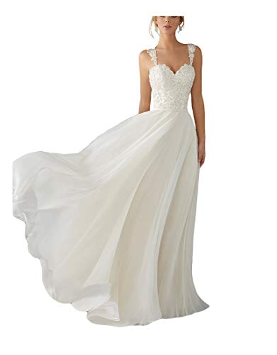 Andybridal A Line Spaghetti Straps Sweetheart Lace Chiffon Bridal Gowns Beach Wedding Dress Ivory 8
