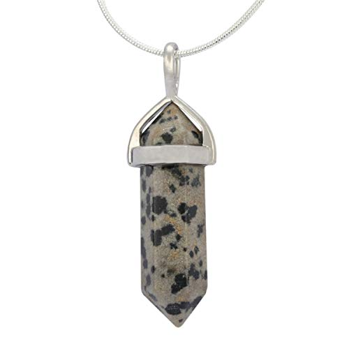 - Natural Dalmatian Jasper Healing Point Reiki Chakra Cut 18 Inch Gemstone Pendant Necklace (1pc) #GGP-C19