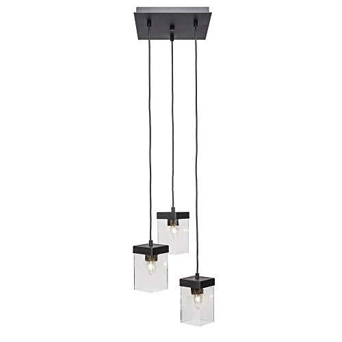 - Toltec Lighting 3212-ES-530 Nouvelle - Three Light Cord Mini Pendant, Espresso Finish with Clear Bubble Glass
