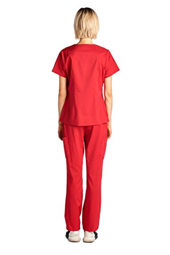 Dagacci Medical Uniform Women's Scrub Set Stretch and Soft Y-Neck Top and Pants, Red, S by Dagacci Medical Uniform (Image #3)